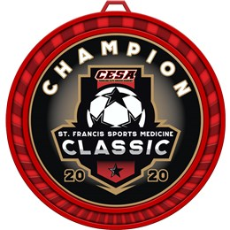 Soccer Medal with Custom Logo in Red Medal